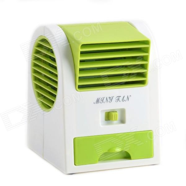 USB Powered Bladeless Aromatherapy Air Conditioner Mini Fan - White + Green (3 x AA)