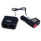 WF0097 Universal USB Car Charger w/ Two Extra Cigarette Lighter - Black + Silver + Blue