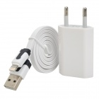AC Charger + USB to 8-Pin Lightning Data/Charging Flat Cable for iPhone 5 - White (EU Plug)