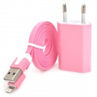 AC Charger + USB to 8-Pin Lightning Data/Charging Flat Cable for iPhone 5 - Pink (EU Plug)