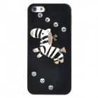 Protective Cute Zebra Style Rhinestone Plastic Back Case for Iphone 5 - Black + White