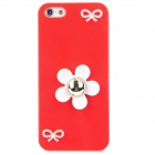 Stylish Flower Style Protective Plastic Back Case for Iphone 5 - Red