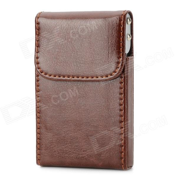 Classical PU Leather Cove Aluminum Alloy Business Card Case - Brown