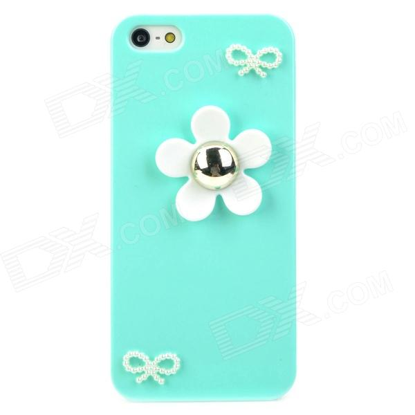 Stylish Flower Style Protective Plastic Back Case for Iphone 5 - Green