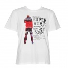 hanc121001 Fashion Boy Pattern Cotton Short Sleeves T Shirt for Men - White (Size L)