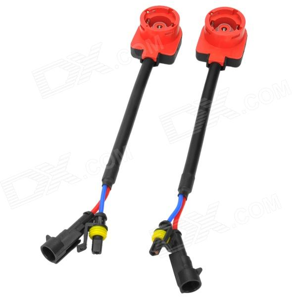 HID Bulb Ballast Harness Converter Socket Adapter Cable for D2 / D4 - Red + Black (12V / 2 PCS)