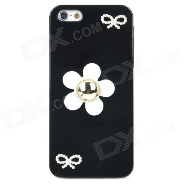 Stylish Flower Style Protective Plastic Back Case for Iphone 5 - Black