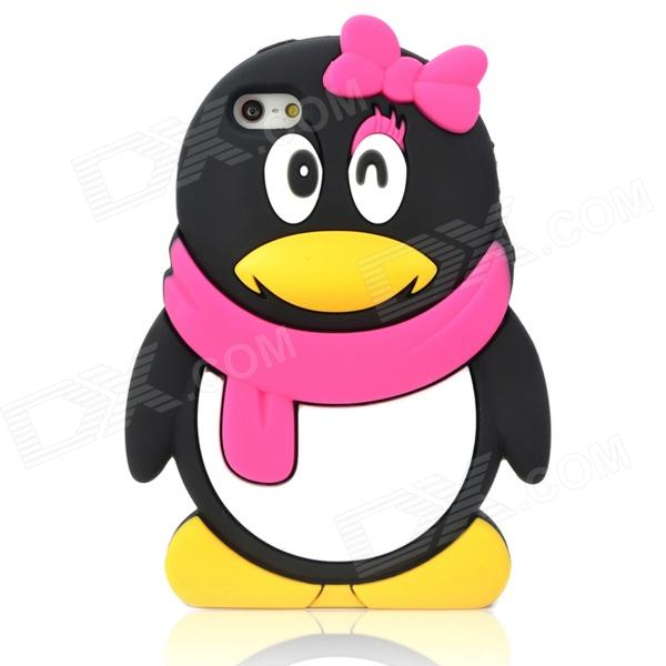 Cute 3D Female Penguin Style Protective Silicone Back Case for Iphone 5 - Black + Deep Pink cute marshmallow style silicone back case for iphone 5 5s yellow white