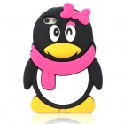 Cute 3D Female Penguin Style Protective Silicone Back Case for Iphone 5 - Black + Deep Pink