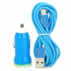 SCC-8 Car Charger + USB to 8-Pin Lightning Data/Charging Cable for iPhone 5 / iPad 4 - Blue
