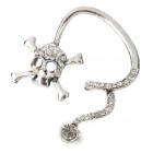 Fashion Punk Style Skull w/ Crystal Earring Ear Hook - Silver
