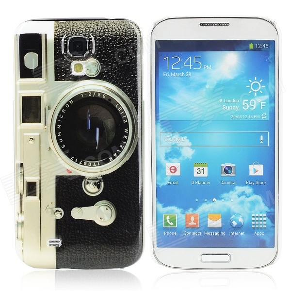 Retro Camera Pattern Protecive Plastic Back Case for Samsung i9500 - Grey + Black