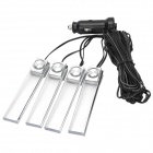 1-to-4 Car 4 x 1W 200lm LED Blue Light Decoration Lamp Strip Set (12V)