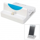 2-Port USB 2.0 Hub 8pin Lightning Charging Dock Station / Card Reader for iPhone + More - White