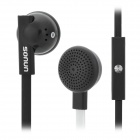 SONUN SN-IP3 Universal 3.5mm Jack In-ear Earphone Head Set w/ Microphone - White + Black (120cm)