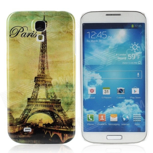Eiffel Tower Pattern Plastic Back Case for Samsung i9500 - Light Green