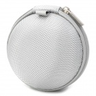 Portable Waterproof Small Round Protective Nylon Bag for Earphone - Silver