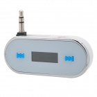 "08 0.8"" LCD Car FM Transmitter w/ 3.5mm Plug for Iphone + More - White + Silver + Blue"