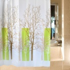 B105-2 Beautiful Tree Pattern Dacron Waterproof Shower Curtain - White + Brown + Green