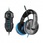 SOMiC G989HD Real Physical 7.1-CH USB Plug Gaming Headset - Black + Blue (3m Cable)