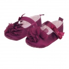 Lovely Flower Velcro Baby Shoes - Deep Purple (3~6 Months / Pair)