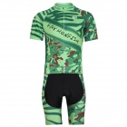 FAYRONFISH Bicycle Cycling Short-Sleeves Jersey + Shorts Set - Green (XL)