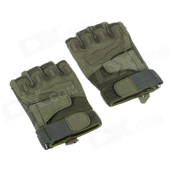 Stylish Outdoor Half Finger Gloves - Army Green ( Size XL / Pair) pro biker mcs 01a motorcycle racing full finger protective gloves blue black size m pair