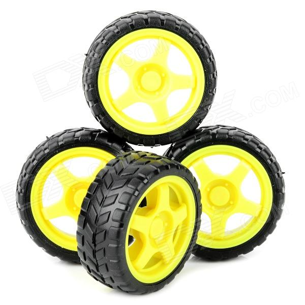 DIY TT Motor Wheel for Four-wheel Drive Car Model - Yellow + Black (66mm-diameter / 4 PCS)