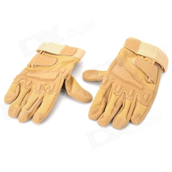 SW3037 Outdoor Mountaineering Windproof Super Fiber + Nylon Full-finger Gloves - Sand (Pair / XL)