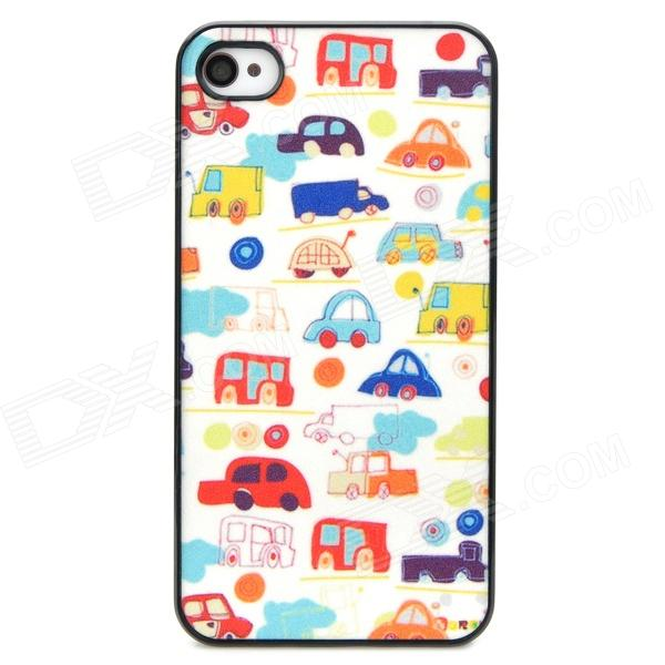 Shining Mini Cars Style Protective Plastic Back Case for Iphone 4 / 4S - Multicolor cool skull head style protective soft silicone back case for iphone 4 4s pink