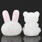 Changeable Colorful  LED Light Crystal Rabbit + Bear Display Toy - White + Pink + Black (3 x LR44)