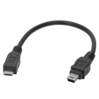 CY U2-054 Micro USB Male to Mini USB Male Charging + Data Cable - Black (20cm)