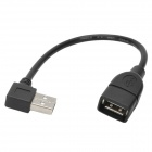 CY U2-015 Angle USB 2.0 A Male to USB 2.0 Female Extension Data Cable - Black (20cm)