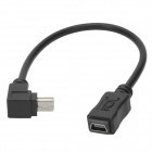 CY U2-051 Angle Mini USB Male to Mini USB Female Extension Data Cable - Black (20cm)