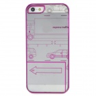 Car Style Laser Pattern Protective PC Back Case for Iphone 5 - Purple + Transparent