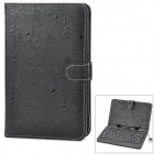 "Protective ABS + PU Case w/ USB Cable + Wired 80-key Keyboard for 7"" Tablets - Black"