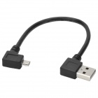 CY U2-075-RI Left 90-Degree USB 2.0 Male to Micro USB Right 90-Degree Male Data Cable - Black (20cm)