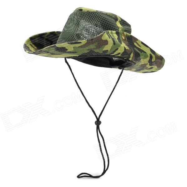 Outdoor Sport Camouflage Cotton Sun-proof Fishing Hat - Green