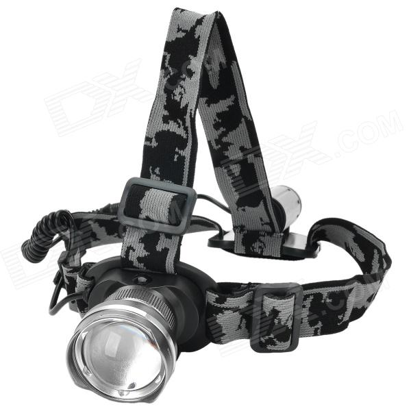 LZZ-186 600lm 3-Mode White Zooming Headlamp w/ CREE XM-L U2 - Silver (1 x 18650) lzz 300lm 3 mode white crown head headlamp w cree xm l t6 black silver 1 x 18650