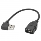 CY U2-002 USB 2.0 Left 90 Degree Male to Female Extender Cable - Black (20cm)