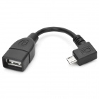 CY U2-053-RI Angle Micro USB Male To USB 2.0 Female OTG Host Data Cable - Black (10cm)