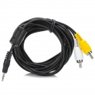 Stereo 2.5mm to 2 x RCA Male AV Cable for PC / MP4 - Black + Yellow + White