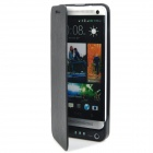 External 4800mAh Power Battery Charger PU Leather Case w/ Switch / Stand for HTC One M7 - Black