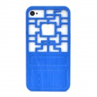 Traditional Chinese Door Style Hollow Out Protective Plastic Back Case for Iphone 4 / 4S - Blue