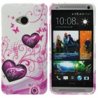 Love Heart Style Protective TPU Back Case for HTC One M7 - Deep Pink + Purple + White