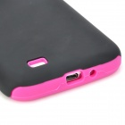 Protective Frosted PC + Silicone Back Case for Samsung Galaxy S4 i9500 - Black + Deep Pink