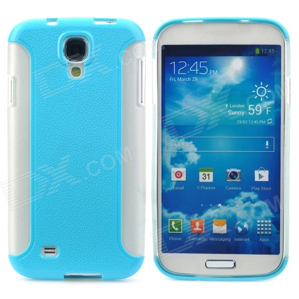 Lychee Pattern Protective PC + TPU Back Case for Samsung Galaxy S4 i9500 - Sky Blue + White protective cute spots pattern back case for samsung galaxy s4 i9500 multicolored