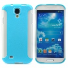 Lychee Pattern Protective PC + TPU Back Case for Samsung Galaxy S4 i9500 - Sky Blue + White