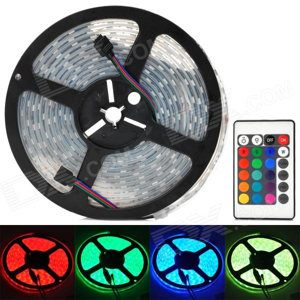 Waterproof 72W 4500lm 300-SMD 5050 LED RGB Soft Decoration Strip w/ 24-Key Remote Controller (5m)