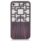 Traditional Chinese Door Style Hollow Out Protective Plastic Back Case for Iphone 4 / 4S - Grey
